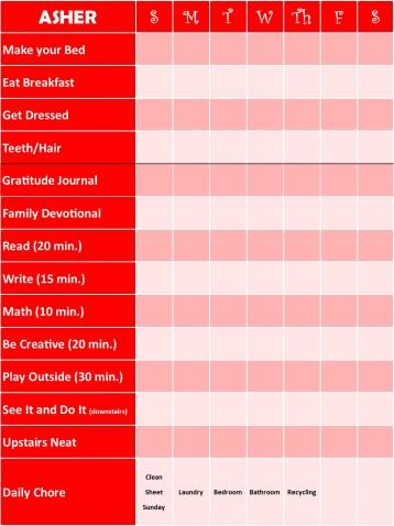 Asher Chore Chart