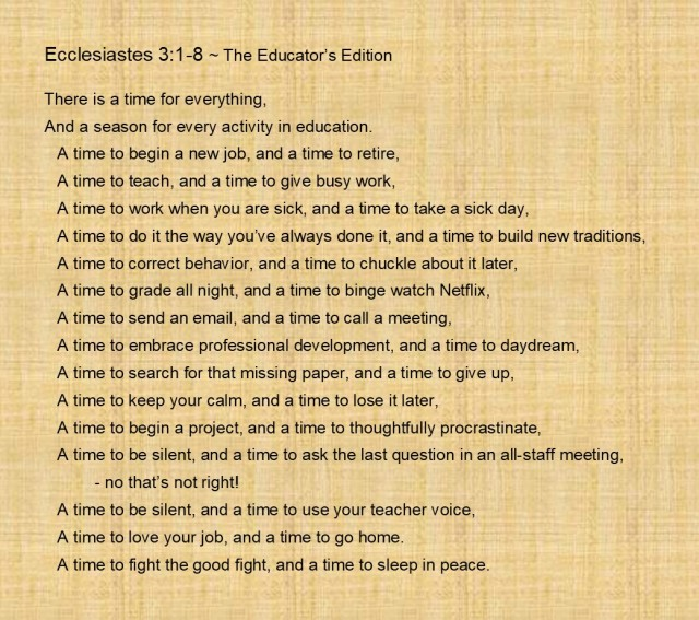A Time to...The Educator's Edition